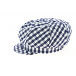 Casquette Gavroche Coton Imprimés Vichy Bleue- Mayser