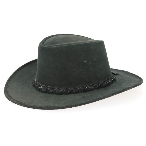 Traveller Swagman Hat Black Leather - Bc Hats