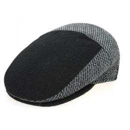 Flat Cap Ferrara Black & Grey Wool & Traclet