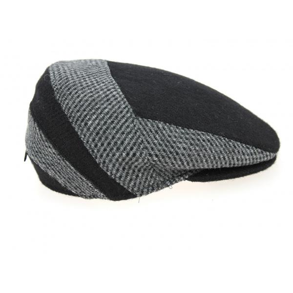 Flat Cap Ferrara Black & Grey Wool Traclet