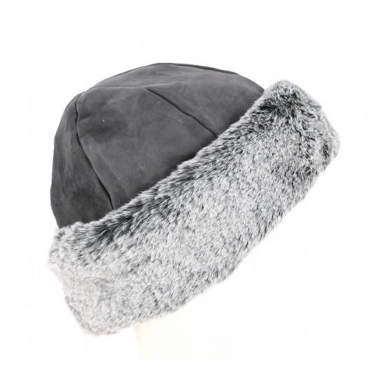 Nayeli Leather & Faux Fur Toque Anthracite- Traclet