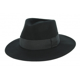 Chapeau Fedora Castellane Feutre Laine Noir- Traclet