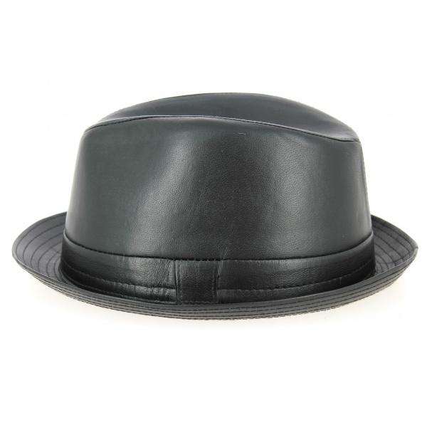 Chapeau Trilby Fabro Cuir Noir- Traclet