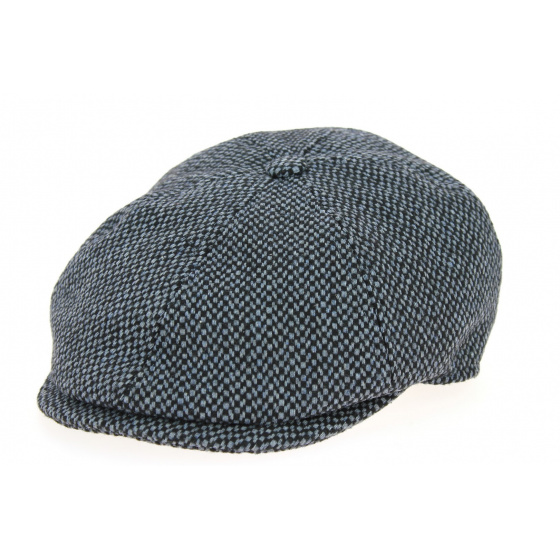 Tailor Grey & Blue Wool 8-sided Cap - Traclet