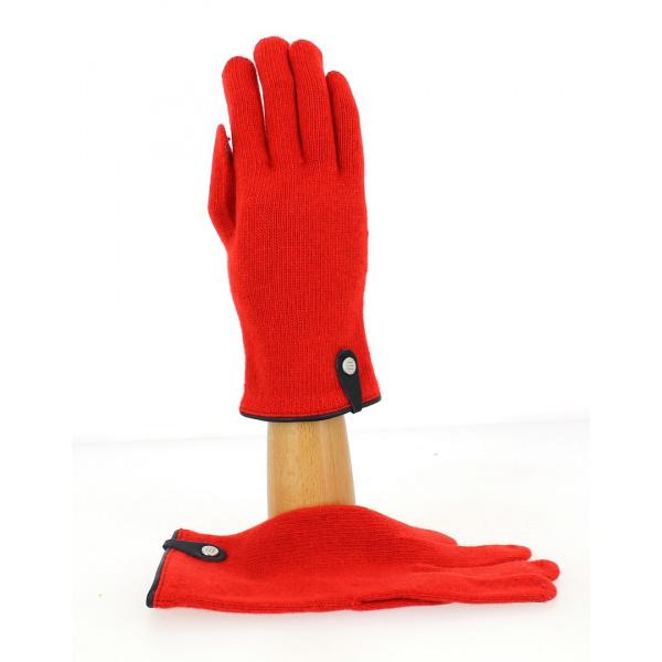 Gants Tactiles Séville Laine & Cachemire Rouge/Marine - Traclet