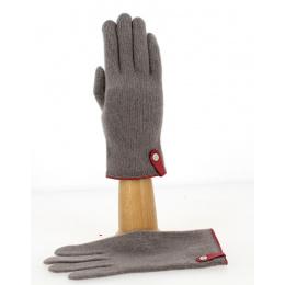 Gants Tactiles Séville Laine & Cachemire Taupe/Cerise- Traclet