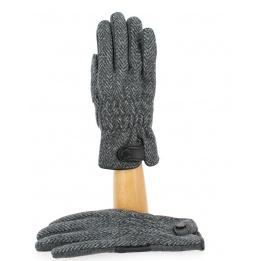 Gants Tactiles Homme Tweed Cuir- Traclet