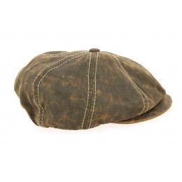 Casquette Bakerboy Imitation Cuir Coton Marron- Traclet