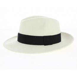 Chapeau Fedora Feutre Laine blanc ruban noir Imperméable - Traclet
