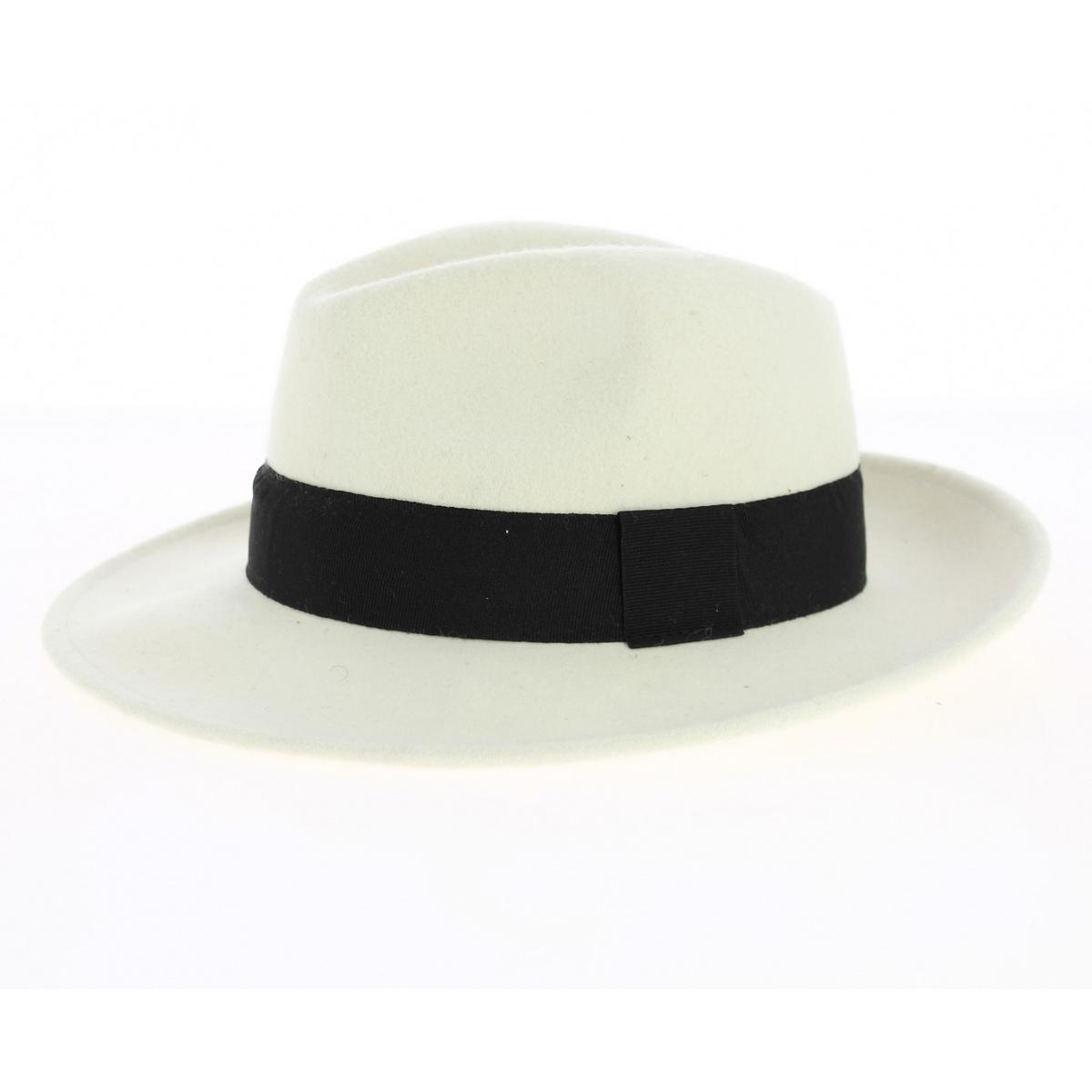 Chapeau Fedora Feutre Laine Blanc Ruban Noir Imperméable