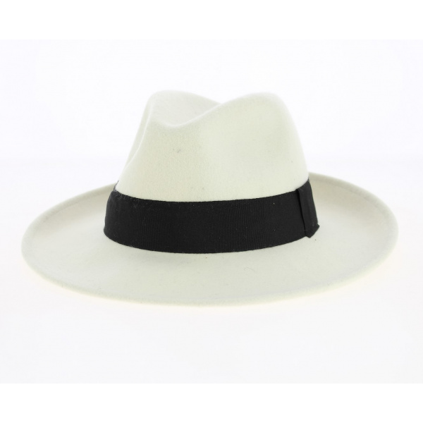 Fedora Hat Wool Felt White/Black Water Resistant