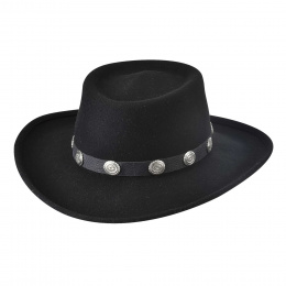 Chapeau Western Close Friend Feutre Laine Noir- Bullhide