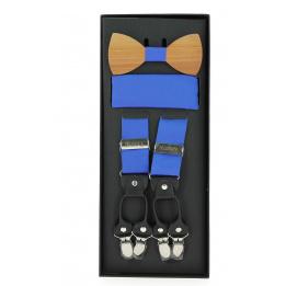 Noeud papillon homme en bois avec pochette et bretelles assorties- Traclet
