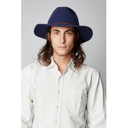 Chapeau Wesley Fedora Feutre Laine Bleu Marine- Brixton