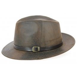 Chapeau Fedora Nanno Imitation Cuir Marron- Traclet