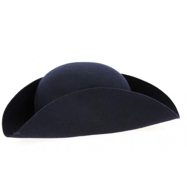 Chapeau Tricorne Feutre Laine Bleu Marine- Traclet