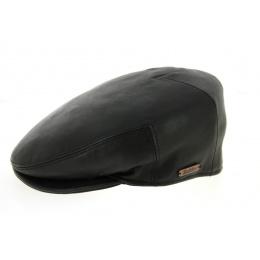 Plate Roadster Black Leather Cap - Traclet