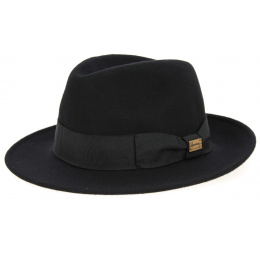 Fedora Goldwin Hat Black Wool Felt - Herman