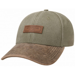 Casquette Baseball Coton & Cuir Olive- Stetson