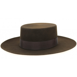 Santiago Cordobes Hat/Canotier Wool Felt Chocolate- Traclet
