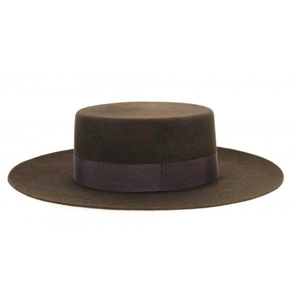 Chapeau Santiago Cordobes/Canotier Feutre Laine Chocolat- Traclet