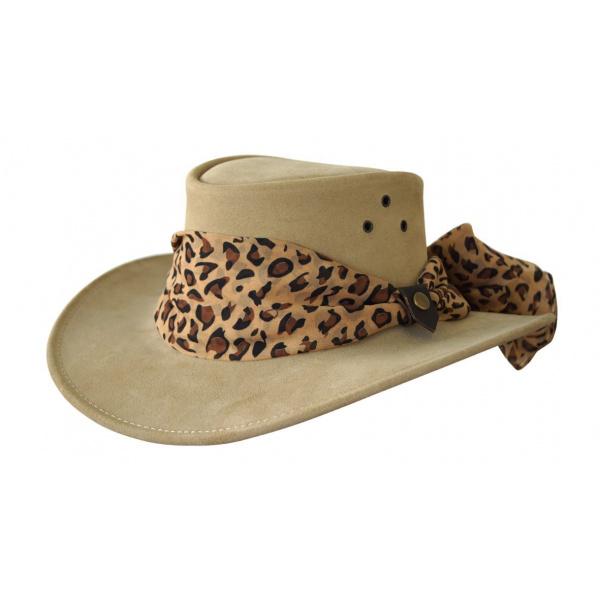 Chapeau Australien cuir femme Beige - Jacaru