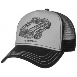 Baseball Trucker Muscle Car & Hat Cap Black & Grey Cotton - Stetson