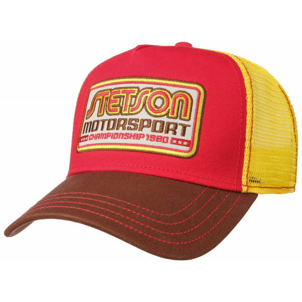 Casquette Baseball Trucker Motosport II Coton Rouge & Jaune- Stetson