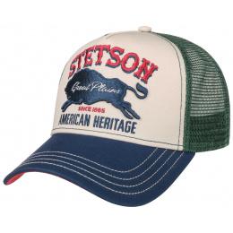 Casquette Baseball Trucker Great Plains Coton Vert & Bleu- Stetson