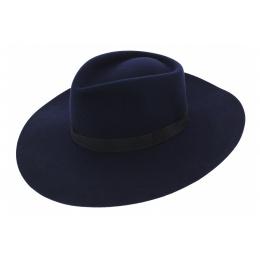Chapeau Harlem Feutre Laine Bleu Marine- Traclet