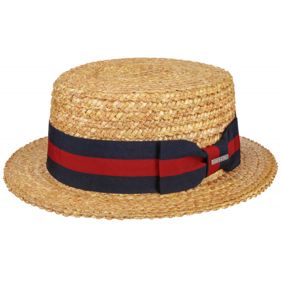 Natural Straw Boat Red & Blue Sea Ribbon Stetson