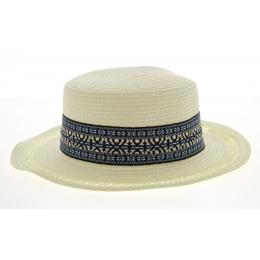Azteca Boat Hat Azteca Straw Ivory Paper- Traclet