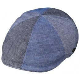 Blue Linen & Cotton Patchwork Cap - Traclet