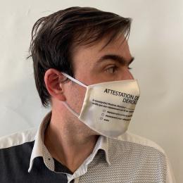 """Masque """"Attestation"""" Fantaisie Élastique Blanc- Traclet"""