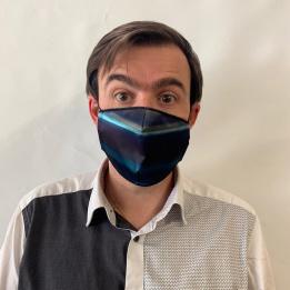 Masque Dégradé Bleu Fantaisie Élastique Noir- Traclet