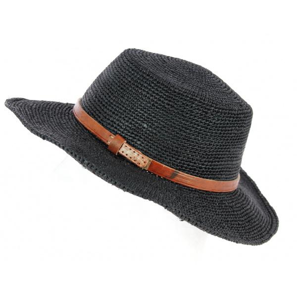 Chapeau Femme Renoa Paille Raphia Noir- Traclet
