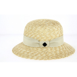 Hat Bell Hat Solène Straw Straw Beige Ribbon - Traclet