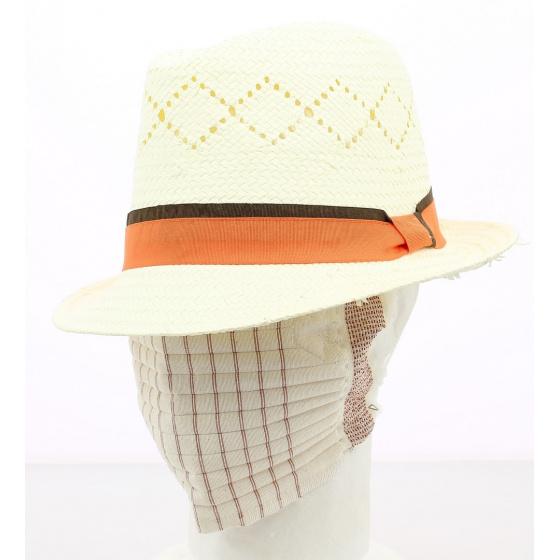 Chapeau TRILBY : ruban orange/taupe (avec un masque de Charlieu offert)