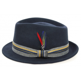 Trilby Hat Felt Wool Felt Blue Marine- Stetson