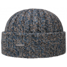Bonnet à Revers Cachemire Bleu & Taupe- Stetson