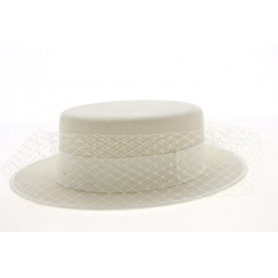 Boat With White Wool Felt Voilette - Traclet