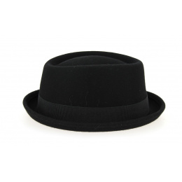 Porkpie Hat Wool Felt Black- Traclet