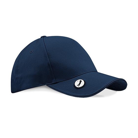 Golf Pro-Style Cap Black - White Cotton - Beechfield