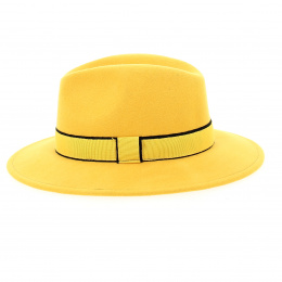 yellow wool felt hat