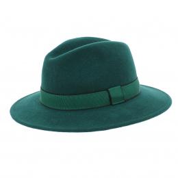Fedora laine vert bandeau vert