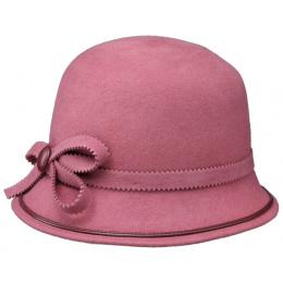 Chapeau cloche feutre laine rose