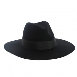 Chapeau bord Large noir Fedora -The Author - Traclet