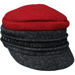Casquette Gavroche Angèle Laine Rouge & Gris  - Traclet