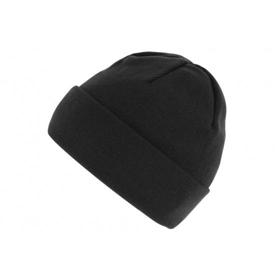 Bonnet Coton Bavière Avec Revers Noir- Traclet