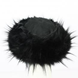 Toque Tkhatch cuir noir et fourrure